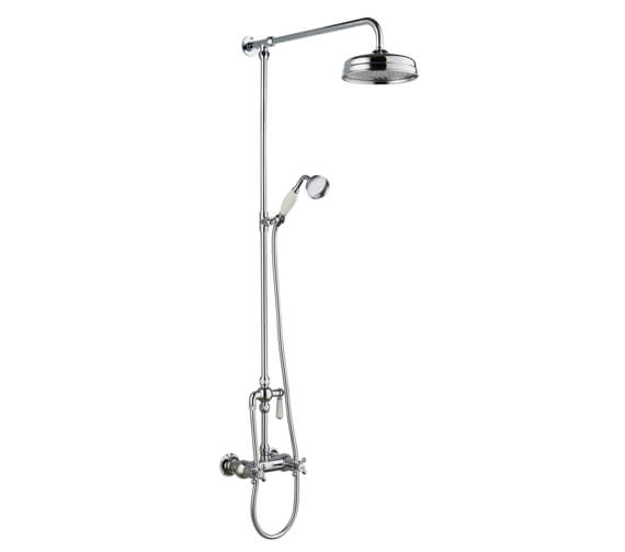 Hudson Reed Traditional Thermostatic Bar Shower Valve And Rigid Riser Kit With Diverter