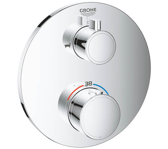 Grohe Grohtherm Thermostatic Bath Tub Mixer For 2 Outlets With Integrated Shut Off-Diverter Valve