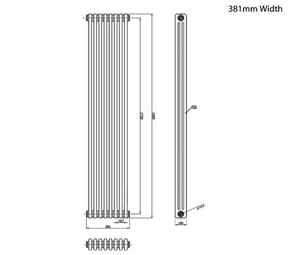 Alternate image of Hudson Reed Colosseum 1800mm High Triple Column Traditional Radiator
