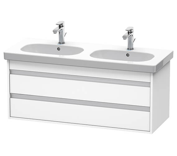 Duravit Ketho 2 Drawer 1150mm Wall-mounted Vanity Unit With D-Code Double Bowl Basin
