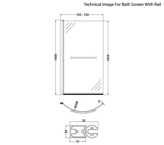 Additional image of Premier 720 x 1435mm Curved Screen For P-Shaped Bath
