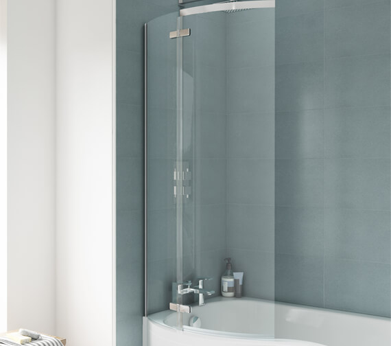 Nuie Premier Ella 721 x 1400mm Curved Screen For P-Shaped Bath