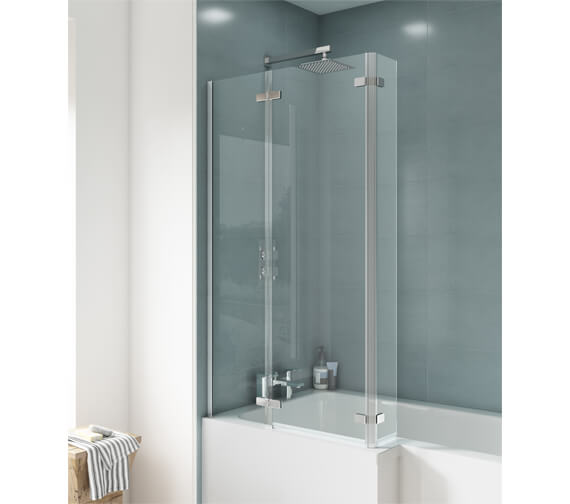 Premier Ella 800-810 x 1400mm Square Hinged Bath Screen