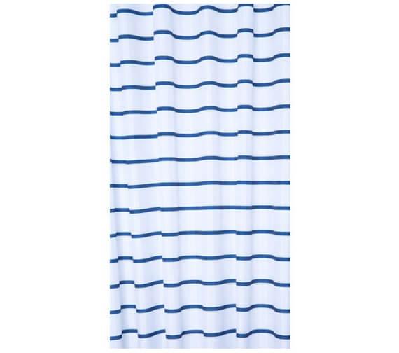 Croydex Navy Pinstripe Textile Shower Curtain
