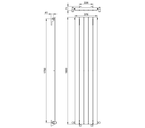 Additional image of Vogue Fly Line 1800mm Height Vertical Single Panel Radiator