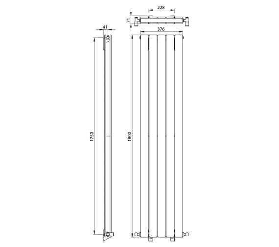 Additional image of Vogue Fly Line 1800mm Height Vertical Double Panel Radiator