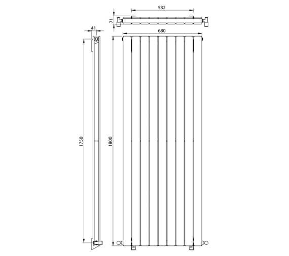 Additional image of Vogue Fly Line 1800mm Height Double Panel Vertical Radiator
