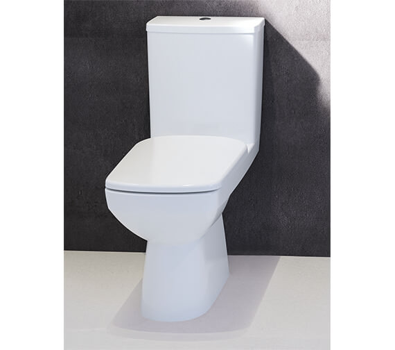 Twyford E100 Square Rimfree Close Coupled Premium 680mm Toilet Pan With Cistern