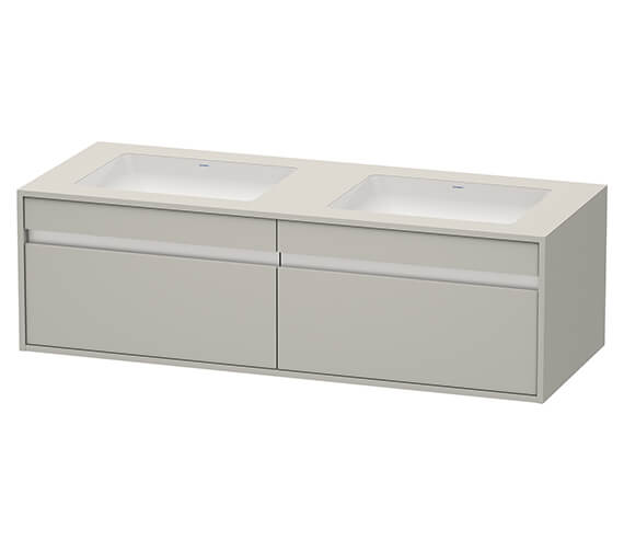 Additional image of Duravit Ketho 1400 x 550mm 2 Drawer Wall Mounted Unit For Undercounter Basin F-Bonded