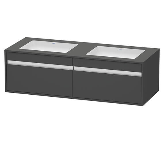 Alternate image of Duravit Ketho 1400 x 550mm 2 Drawer Wall Mounted Unit For Undercounter Basin F-Bonded