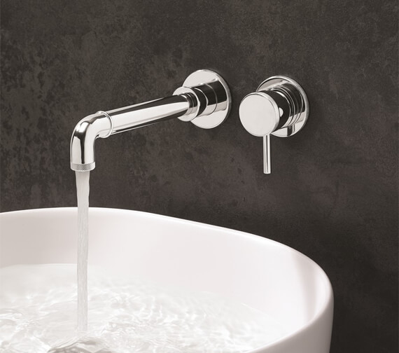 Crosswater MPRO Industrial Wall Mounted 2 Hole Basin Tap Without Pop-Up Waste