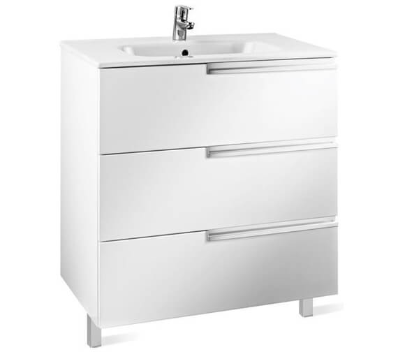 Roca Victoria-N Gloss White 3 Drawer Large Vanity Unit 600 x 740mm