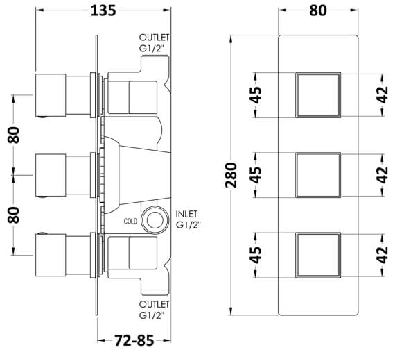Technical drawing QS-V93790 / SQRTR02