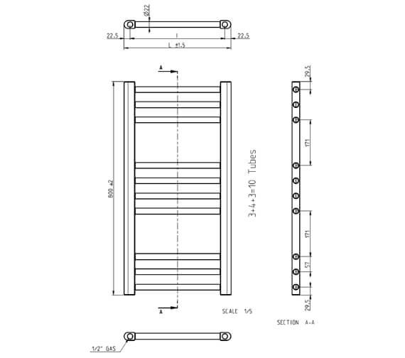 Technical drawing QS-V88634 / KL50X80A