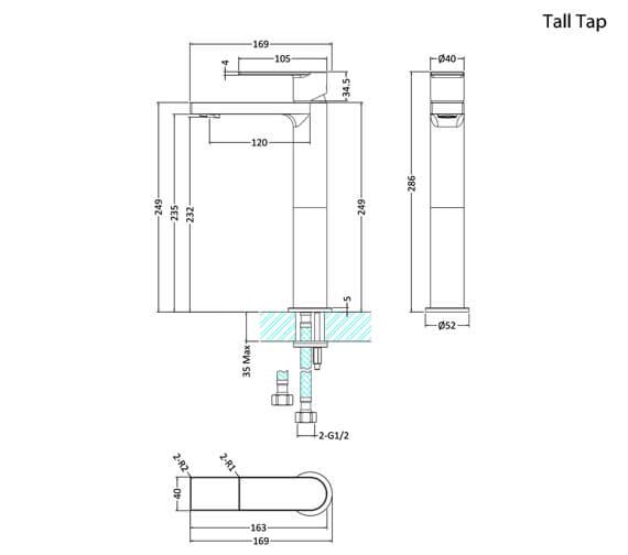 Alternate image of Hudson Reed Sottile Single Lever Chrome Basin Mixer Tap