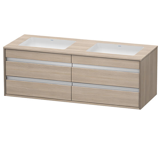 Alternate image of Duravit Ketho 1400 x 550mm Both Side Cut-Out Unit For Undercounter Basin F-Bonded