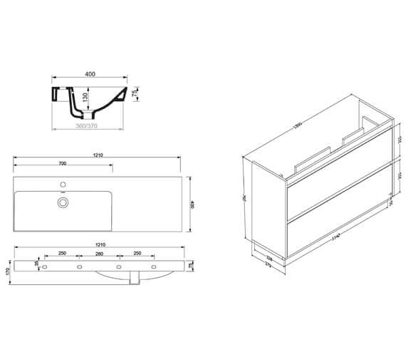 Technical drawing QS-V88800 / ZI1200DSG