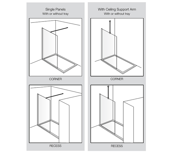 Additional image of Aquadart Wetroom 8 Walk-In Shower Glass Panel