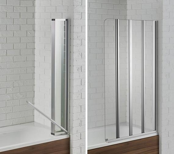 Aquadart Venturi 6 Swiftseal Semi-Frame-less 4 Fold Bath Screen 800 x 1400mm