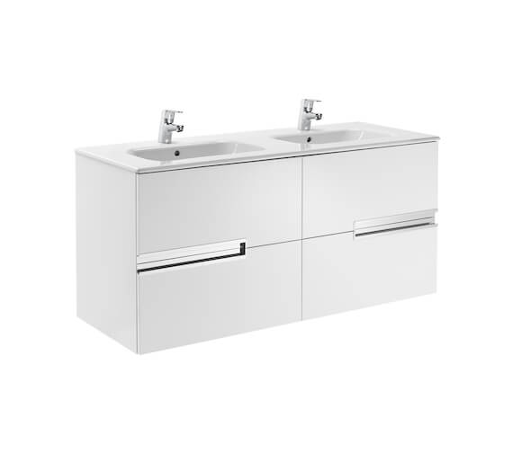 Roca Victoria-N 1200mm Gloss White Vanity Unit With 4 Drawer