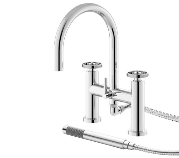 Hudson Reed Revolution Industrial Deck Mounted Bath Shower Mixer Tap With Kit