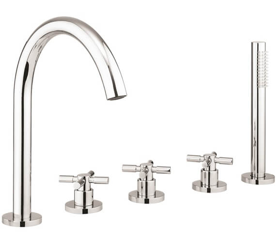 Crosswater Totti II 5 Hole Chrome Bath Shower Mixer Tap With Shower Kit