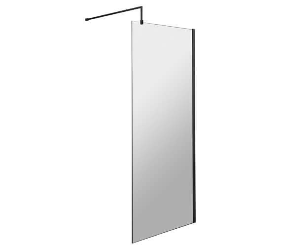 Hudson Reed Black Wetroom Screen And Black Support Bar