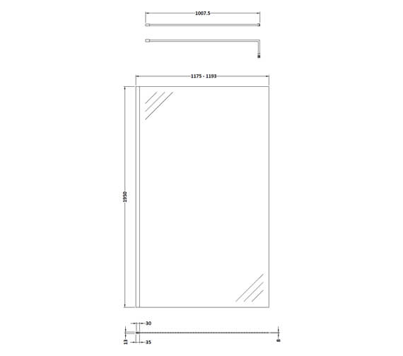 Alternate image of Hudson Reed Black Wetroom Screen And Black Support Bar