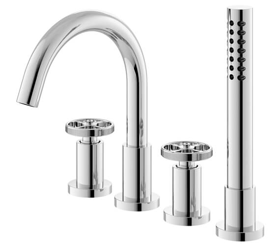 Hudson Reed Revolution Industrial 4 Tap Hole Deck Mounted Bath Mixer Tap