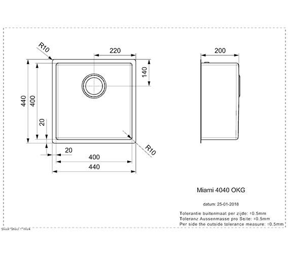 Technical drawing QS-V99093 / MIAMI 40X40 COPPER