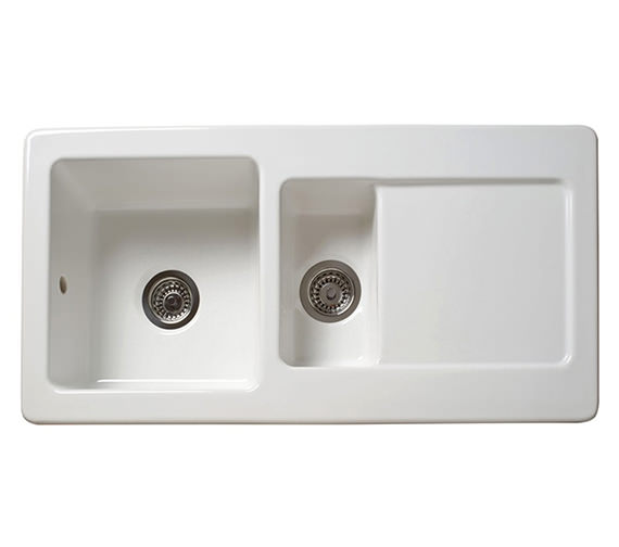 Reginox RL501CW 1.5 Bowl Inset Ceramic Sink 1000 x 500mm