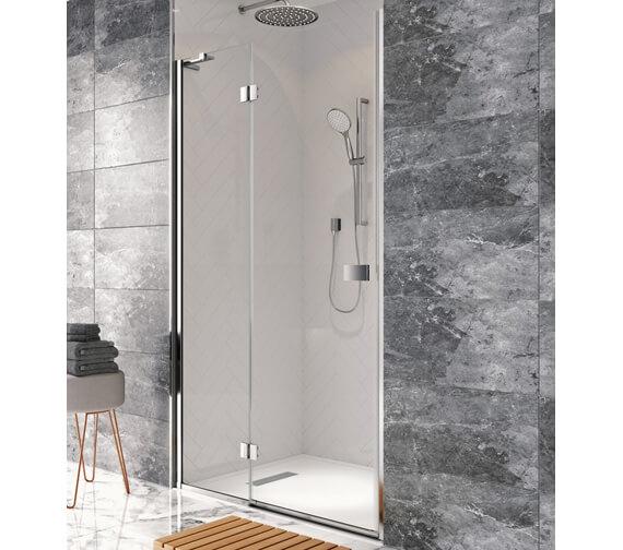 Crosswater Design 8 1950mm High Hinged Shower Door With Inline Panel