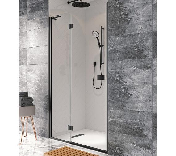 Alternate image of Crosswater Design 8 1950mm High Hinged Shower Door With Inline Panel
