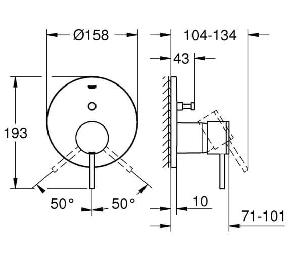 Additional image of Grohe Atrio Chrome Single Lever Shower Mixer Trim