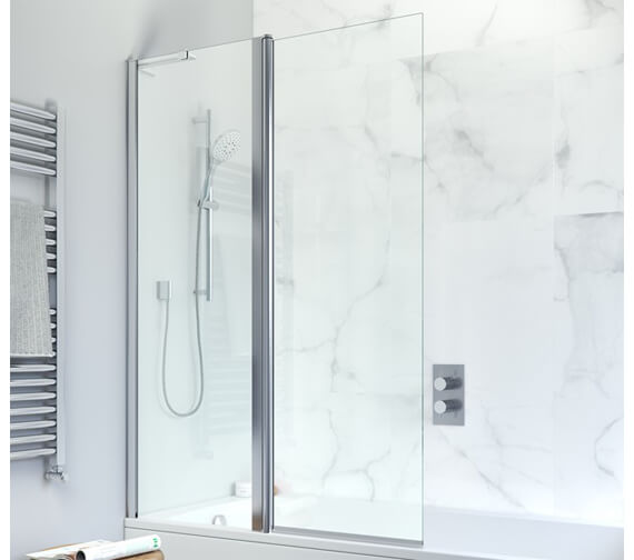Crosswater Design Plus 1060 x 1500mm Frameless Double Bath Screen - Outward Opening