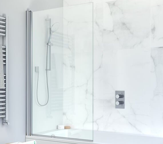 Crosswater Design Plus 850 x 1500mm Frameless Single Bath Screen