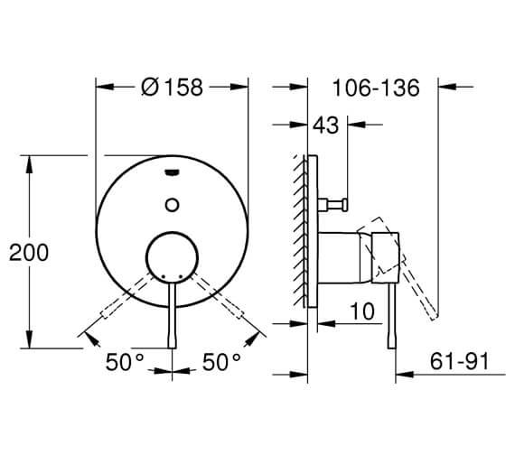 Additional image of Grohe Essence Chrome Single Lever Shower Mixer Trim