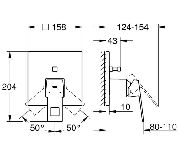 Additional image of Grohe Eurocube Chrome Single Lever Shower Mixer Trim