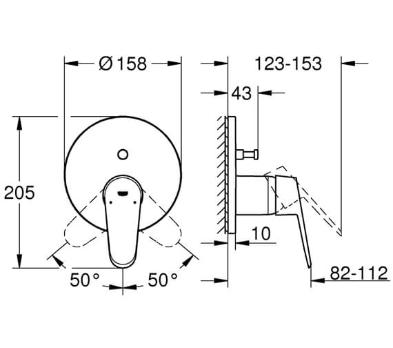 Additional image of Grohe Eurodisc Cosmopolitan Chrome Single Lever Shower Mixer Trim
