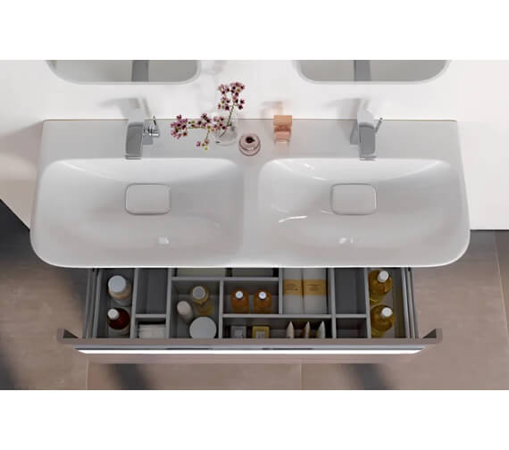 Geberit MyDay 1160mm Wide Single Drawer Vanity Unit And Double Basin