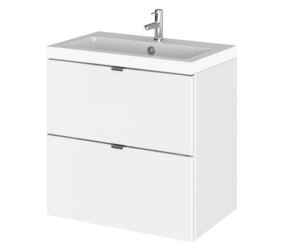 Hudson Reed Fusion 500mm Wall Hung Full Depth 2 Drawer Vanity Unit And Basin
