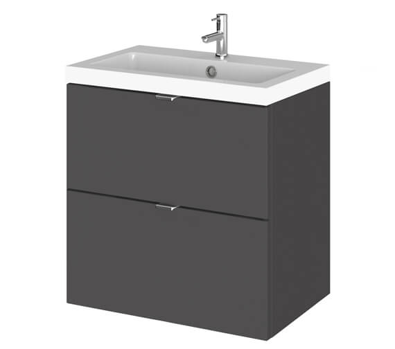 Alternate image of Hudson Reed Fusion 500mm Wall Hung Full Depth 2 Drawer Vanity Unit And Basin