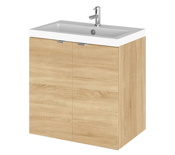 Additional image of Hudson Reed Fusion 500mm Wall Hung Full Depth 2 Door Vanity Unit And Basin