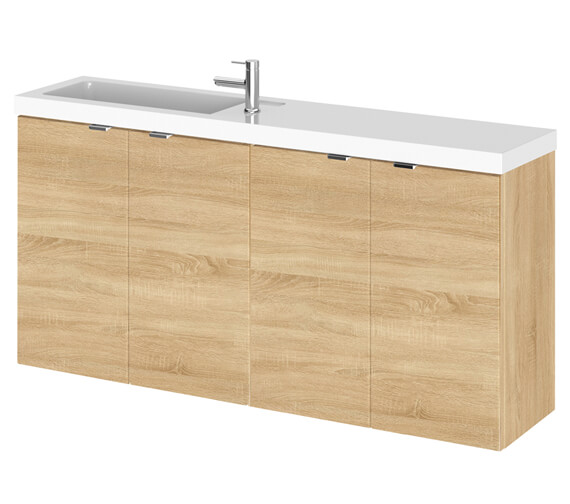 Additional image of Hudson Reed Fusion 1000mm Wall Hung 4 Door Slimline Vanity Unit And Basin