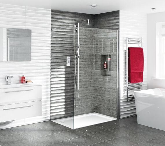 Aqata Spectra SP400 Walk-in Shower Screen For Recess Installation - 1950mm High