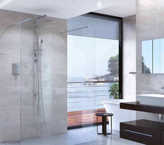 Aqata Spectra Double Entry Walk-In Shower Screen With Steady Bar Fixing