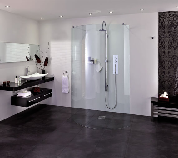 Aqata Spectra SP395 Spacious Walk In Double Entry Curved Shower Screen 1294mm