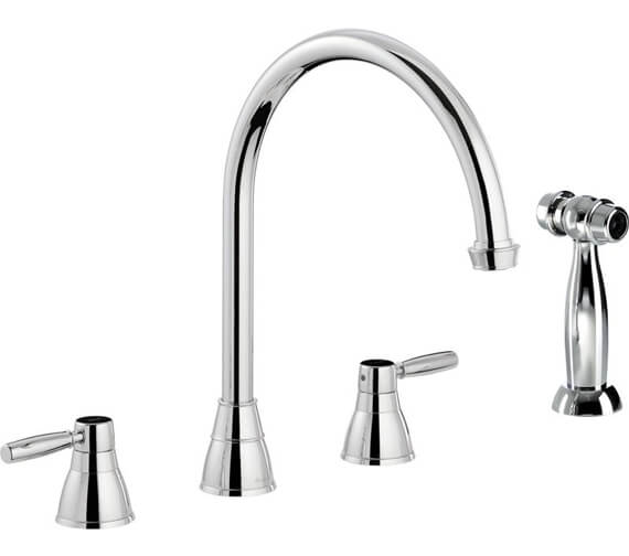 Abode Brompton 3 Hole Kitchen Mixer Tap With Handspray