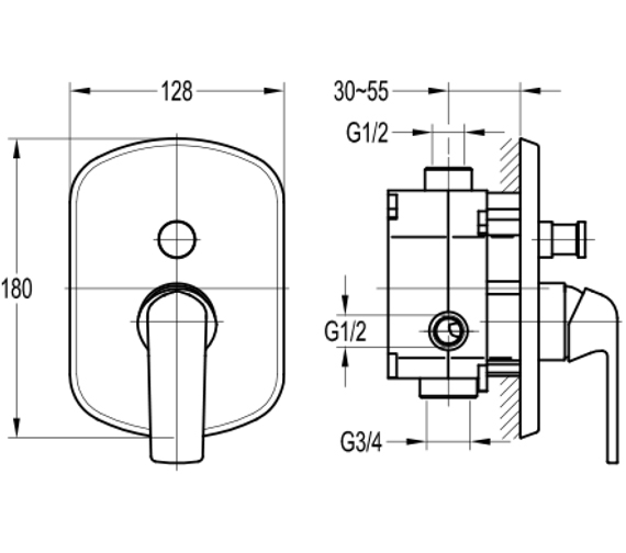 Additional image of Flova Fusion Concealed Manual Shower Mixer Valve
