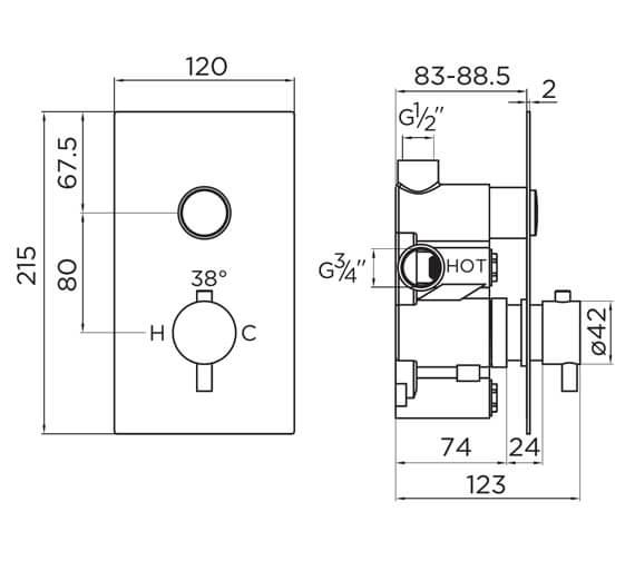 Technical drawing QS-V93854 / 9371